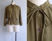 10 to 25% OFF (See Shop) Vintage 80's Olive Green Diagonal Striped Peplum Blouse S or M