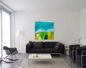 """Large Abstract Painting - MADE TO ORDER - Green teal painting 31.5x31.5"""" - Acrylic Contemporary Painting"""