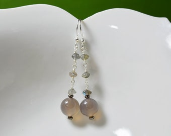 Long Grey Beaded Dangle Earrings Natural Grey Onyx Labradorite metallic rainbow rainstorm earrings artsy boho natural stone jewelry