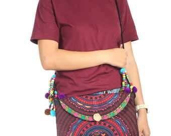 Cross Body Red Bag With Beads Strap Handmade Thailand (BG6725-2C4)