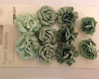 Paper Blooms flowers by Kaisercraft - Set of 10 - Sage - Embellishment