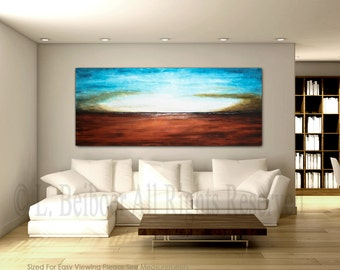 Huge Painting Original large painting abstract landscape painting contemporary red blue seascape art design by L.Beiboer