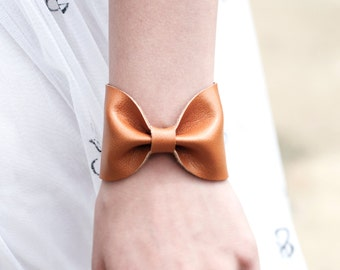 Bow Bracelet Cuff, BowTie Tie, Tan Brown Bracelet Vegan Leather Jewelry Wide Womens, Tattoo Covers Cover Up, Gift Girlfriend ForgottenCotton