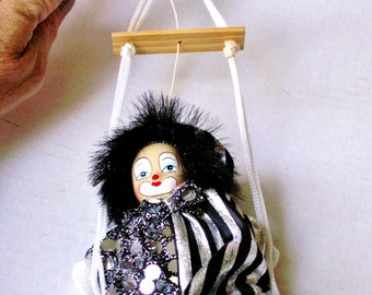 Vintage Fancy Jester Clown Doll on A Swing