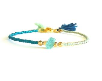 Teal Sea Foam Green Thin Bracelet, Tassel Bracelet, Apatite Bracelet, Beaded Friendship Bracelet, Thin Beaded Bracelet, BFF Bracelet