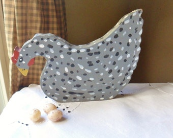 Speckled Gray Chicken, Handmade Wooden Chicken