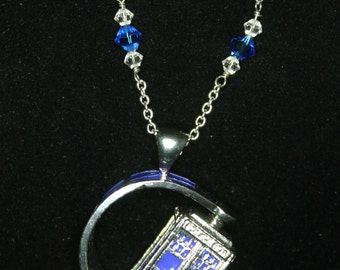 Spinning TARDIS Doctor Who Inspired Necklace with Crystals