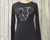 "Long Sleeve Women's T shirt, Elephant T shirt, Brown Organic cotton Tshirt, Bamboo tee, ""Save More"" by Uni-T"