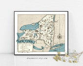 NEW YORK MAP - Instant Digital Download - printable vintage state map for framing, totes, cards, mugs, tags - fun pictorial map wall decor