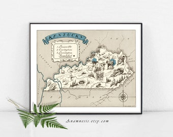 KENTUCKY MAP - Instant Digital Download - printable vintage state map for framing, totes, cards, mugs, tags - fun pictorial map wall decor