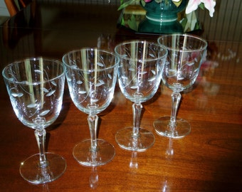 """4 LIBBEY WINDSWEPT WINE 1960's Rock Sharpe 8 Oz Clear Cut Crystal Wine Glasses Goblets Stems 7"""" High #3001 Glass Excellent Condition"""