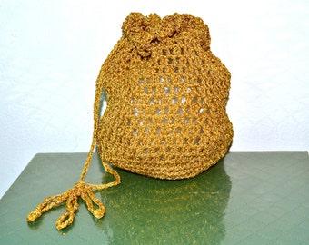 1960s Vintage Handmade Gold Metallic Crocheted Pouch Purse
