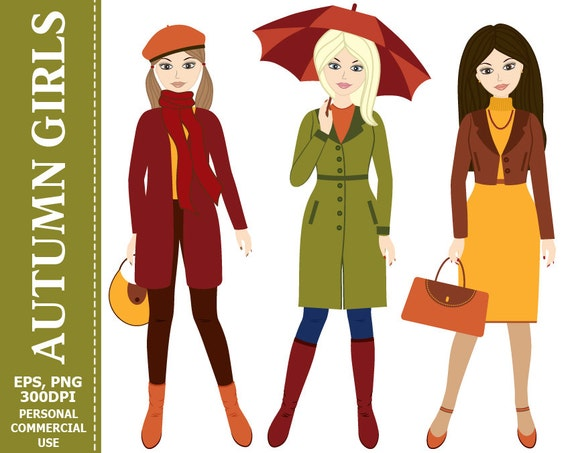 70% OFF SALE Autumn Girls Clip Art Women Autumn Fall