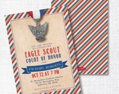 Eagle Scout Court of Honor Ceremony Invitation, Printable, Scout Invite, Red White and Blue, Graduation, Reception, Boy, Award Ceremony