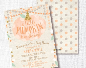 ORANGE LITTLE PUMPKIN is on the way fall gender neutral baby shower invitation rustic orange gold sprinkle sip and see brunch open house