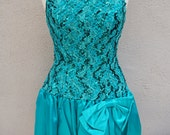 Vintage Teal Party Dress, Sequin Party Dress, Sequin Dress with Bow, Short Lace Dress, Halter Dress, Prom Dress, Homecoming, Green Dress