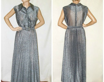 Vintage 1970s Gown . Long Pleated Shirtwaist Dress with Rhinestone Buttons . Full Length Evening Gown