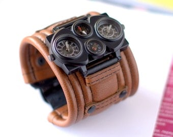 """Mens wrist watch bracelet """"Voyager-3""""- Steampunk Watches - SALE - Worldwide Shipping - gifts for him - Leather cuff wrist watch"""