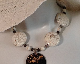 Beaded Chunky Necklace, White Magnesite Coins, Brown Veining, Brown Ceramic Pendant, .925 Sterling Silver Clasp, Chain