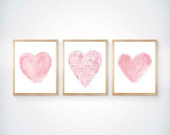 Pink Nursery Decor, Set of 3 - 8x10 Prints, Pink Watercolor Hearts, Pink Nursery Artwork, Pink Nursery Art, Pink Heart Art, Girls Decor