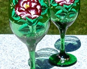 Hand Painted Green Wine Glasses With Red Roses and Wine Glass Charms, Mothers Day Gift, Gifts For Her, Home Decor