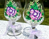 Hand Painted Purple and Pink Flowered Glasses, Hand Painted Wine Glasses, Mothers Day Gift, Birthday Gift, Gifts For Her