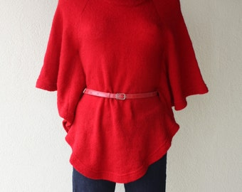 Red sweater poncho batwing sleeves  high neck belted  unique pullover ultra soft knitwear  size medium