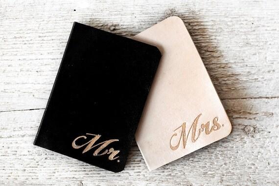 Destination Wedding Gift For Bride And Groom : Leather Wedding Gifts - Set of TWO BRIDE and GROOM Passport Covers ...