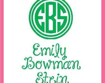 Pink and green stickers, monogrammed stickers, pink green sticker with monogram, pink gift enclosure, pink sticker, preppy sticker,pink tag