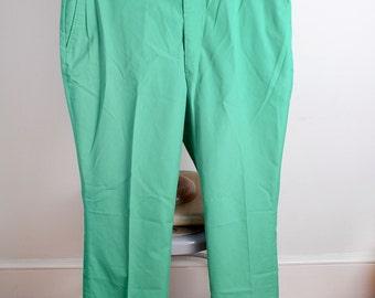 1980s Kelly Grass Green Mens Preppy Summer Dress Khakis by LL Bean 34 30s
