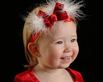 Velvet Headband, Red Baby Bow Hair Band, Infant Headband, Christmas Bow Bands, Marabou Feather Head Bands, Dressy Santa Photo Prop Hair Band