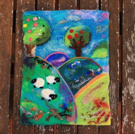 Wool Painting, Landscape Painting, Sheep, Countryside, Textile Art, Felted Art, Felt Landscape, Scenery, Fiber Art, Colorful, Nursery Decor