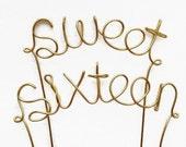 Sweet Sixteen Wire Cake Topper- Birthday Silver, Brown, Gold, Black, Dark Pink, Red