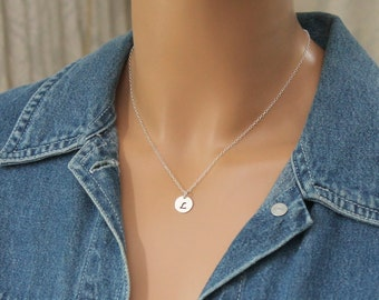 Silver Initial Necklace - Letter Necklace - Christmas Gift