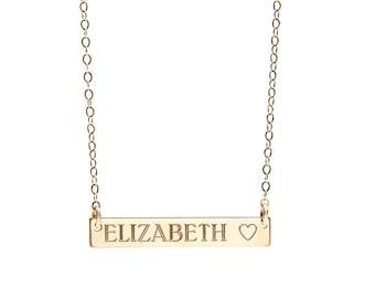 CUSTOM BAR necklace - custom gold bar necklace - custom silver bar necklace - baguette necklace - personalized nameplate - personalized name
