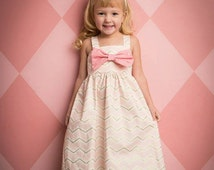 Little Girls Dress Handmade -Simple Chevron Boutique Style Dress - Bows - Pink - White- gold- Birthday - Special Occasion - Photo Shoot