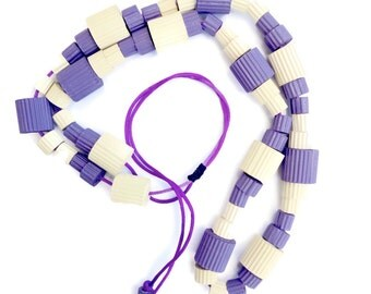 Original jewelry-Colorful statement necklace with chunky beads of corrugated paper lilac and ivory-bold adjustable necklace-abstract jewelry
