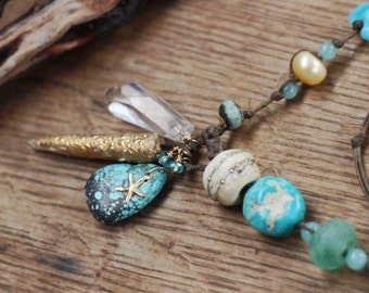 Beach talisman style, long 14kt gold filled linen necklace, starfish, sea blues, turquoise gemstone necklace