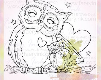 Mama & Baby Owl Love Momma UNCOLORED Digital Stamp Image Adult Coloring Page jpeg png jpg Fantasy Craft Fae Cardmaking Papercrafting DIY