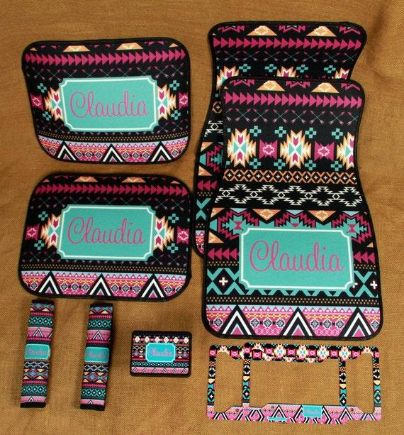 Items Similar To Car Mats Monogrammed Gifts Aztec Tribal