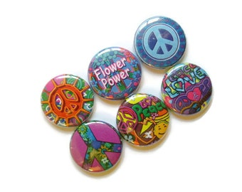 Love and Peace Magnets, Set of 6 Magnets, Flower Power, Hippie, Retro 60's Decor, Stocking Stuffer, Cute Fridge Magnets, Fun Magnets, Office