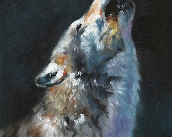 WOLF ART PRINT - wolf painting, wolf oil painting, wolf print, howling wolf, impressionist painting, wolf artwork, wolf decor, wolf wall art