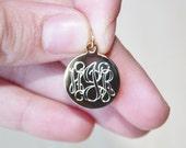 SHIPS FAST, Engraved Monogram Charm, Personalized Engraved Charm, Custom Charm Pendant, Engraved Bracelet Charm,Charm Bracelet, Script Charm