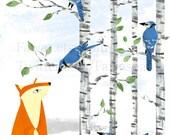Blue Jays, 8 x 10, Print, Limited Edition, Bird illustration, Bird Art, Birch tree, Wall Decor, Blue, Orange, White, Art, uk