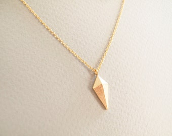 Gold Rhombus Necklace - Geometric Jewelry - Everyday Jewelry