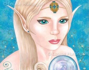 Elven Gaze - Fantasy Elf/Pixie with crystal ball  Art Print. ACEO/ATC 2.5x3.5, 8x10, A4, 11x14, A3. Satin finish photo paper.