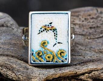 Mosaic ring with Santorini Dolphin