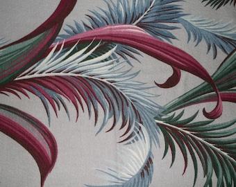 Barkcloth Fabric, 1940s Tabletopper, Art Deco South Beach, Tropical Theme Fabric Panel, Exotic Palm Frond Design, Hawaiian Tablecloth