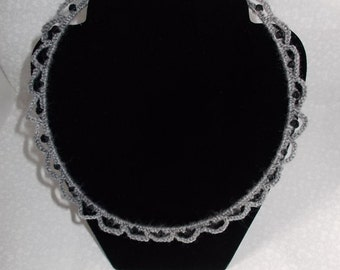 Grey Crochet Necklace with Black Beads