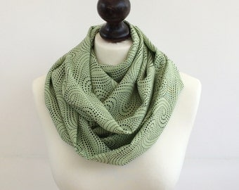Green Circle Scarf, Polka Dot Loop Scarf, Cotton Printed Scarf, Spring Scarf, Light Green Scarf, Boho Infinity Scarf, Designscope